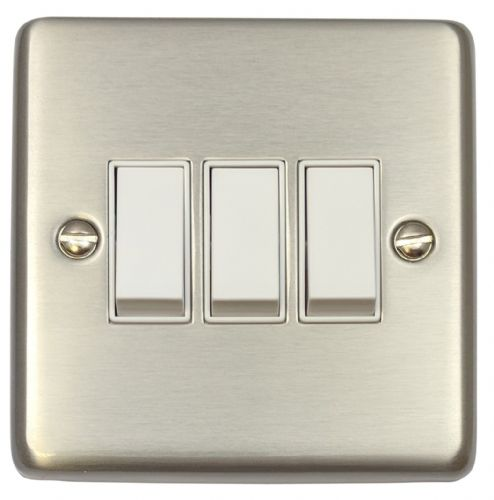 G&H CSS3W Standard Plate Brushed Steel 3 Gang 1 or 2 Way Rocker Light Switch